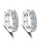 時尚鍍銀耳環鋯石耳扣氣質女簡約鏤空心形單排鑽《小師妹》ps314