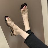 一字拖女外穿時尚粗跟低跟時尚涼拖鞋透明拖鞋【慢客生活】