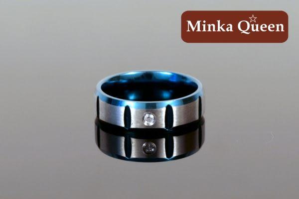 德國鈦鋼 雷射炫藍 格狀設計 流行時尚設計款造型抗敏男戒