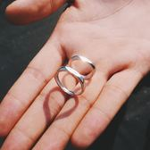 S925純銀情侶戒指男女一對學生日韓百搭簡約活口幾何對戒指環