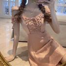 VK精品服飾 韓國風桃兒崽抽褶綁帶吊帶高...
