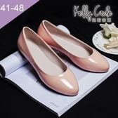 大尺碼女鞋-凱莉密碼-素面簡約清爽風漆皮百搭圓頭平底鞋1cm(41-48)【HO28-5】粉色