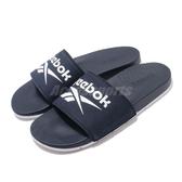 Reebok 涼拖鞋 Comfort Slide 2.0 藍 白 男鞋 女鞋 基本款 復古LOGO 舒適好穿 拖鞋【PUMP306】 FU7206