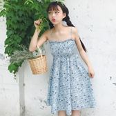 春夏新品女裝2018正韓甜美高腰顯瘦雪紡碎花吊帶裙無袖學生挺版洋裝  均碼