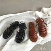 大sim韓國chic鞋子復古涼鞋學院風百搭羅馬鞋女休閒沙灘鞋潮 盯目家