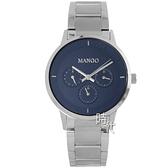 【台南 時代鐘錶 MANGO】西班牙時尚 三眼日期 鋼錶帶女錶 MA6751L-55 深藍/銀 36mm 對錶