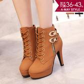 馬丁靴-厚底扣飾超高跟短靴(36-43加大碼)
