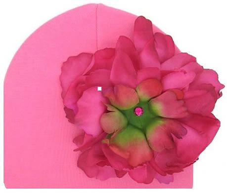 嬰幼兒保暖綿帽: 牡丹花: 覆盆子色糖果粉底: Jamie-0411