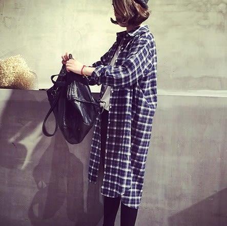 EASON SHOP(GU5272)大碼OVERSIZE格子長版長袖襯衫裙格紋防曬衫外套女裝韓版寬鬆落肩側開衩中長款