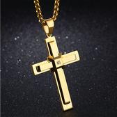 【5折超值價】【316L西德鈦鋼】經典美式個性風格立體十字架鑲鑽造型男款鈦鋼項鍊