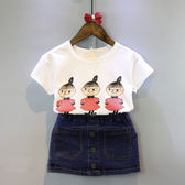 韓版女童裝兒童寶寶卡通短袖t恤 牛仔裙兩件套裝2018夏裝新款潮款  無糖工作室