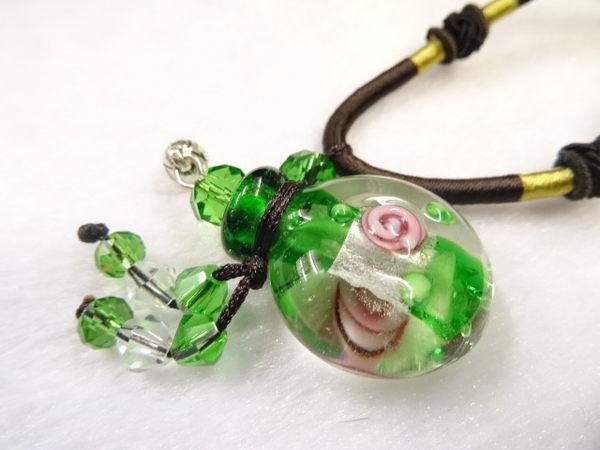 【Ruby工作坊】NO.21G綠精油雕花瓶中國結項鍊
