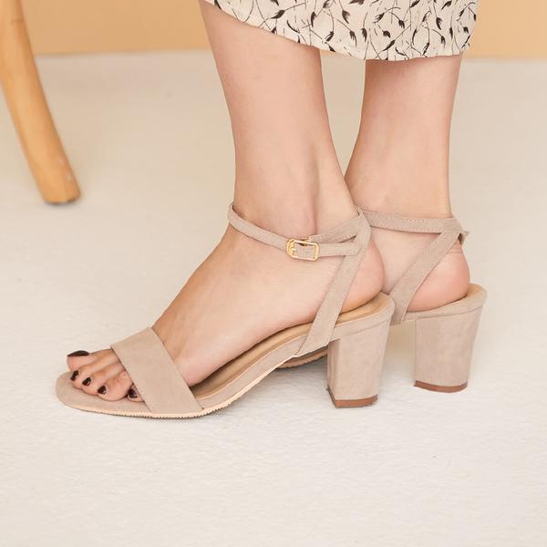 限量現貨◆PUFII-鞋子 麂皮繞踝高跟涼鞋-0225 現+預 春【CP18048】