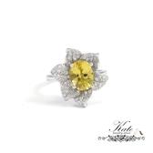 珠寶級天然金黃色綠柱石純銀戒指 銀飾 滿鑽花朵 附珠寶鑑定書 925 純銀寶石戒指 KATE銀飾