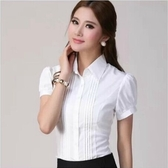 襯衫 大碼雪紡修身白襯衫長袖工作服工裝襯衣職業短袖