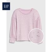 Gap女幼童圓領長袖套頭上衣512670-淺丁香紫
