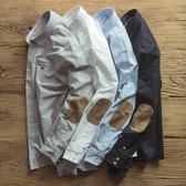肘部補丁牛津紡襯衫男士複古全棉素棉寸布秋修身工裝阿美咔叽
