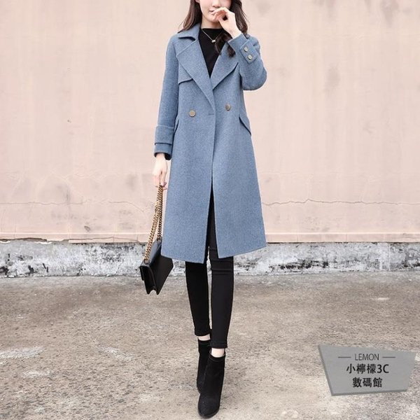毛呢外套女寬鬆中長款呢子大衣冬【小柠檬3C】