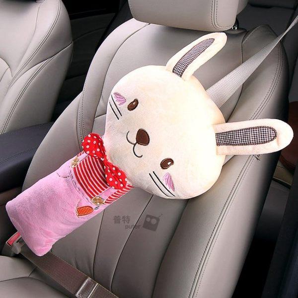 【CR0021】汽車兒童安全帶抱枕 韓版可愛動物護肩套安全帶護套 寶寶安撫睡覺抱枕靠枕側枕