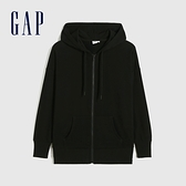 Gap女裝 碳素軟磨系列 法式圈織簡約風開襟連帽外套 861043-黑色