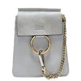 Chloe 克羅伊 藍色牛皮拼接麂皮手提肩背2way包 Faye Small Bracelet Bag【BRAND OFF】
