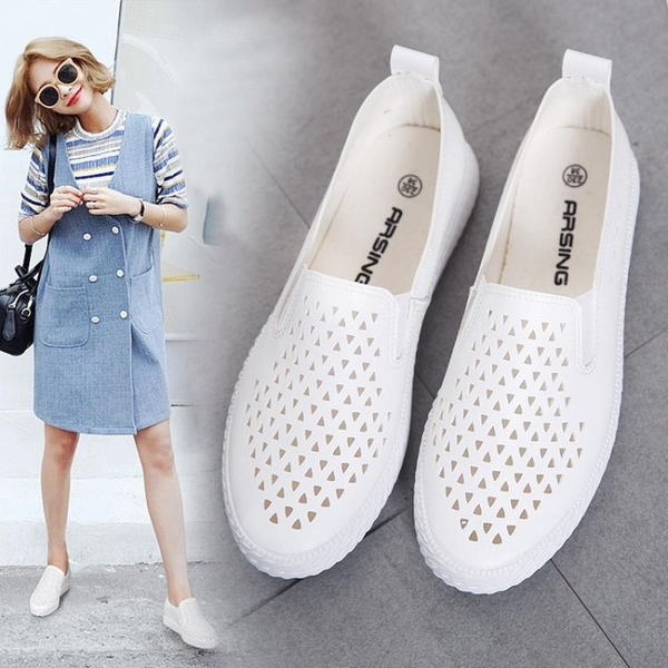 鏤空帆布鞋女鞋平底懶人樂福鞋韓版潮一腳蹬小白鞋女透氣 黛尼時尚精品