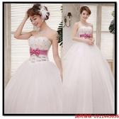 (45 Design) 訂做款式7天到貨 時尚冬季新款復古韓版白色新娘蕾絲婚紗抹胸甜美齊地婚紗