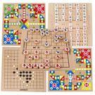 多功能遊戲棋 跳棋飛行棋幼兒童多功能桌面游戲棋6-10歲五子棋蛇棋益智木製玩具 5色T