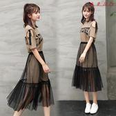 女裝裝連身裙韓版顯瘦網紗兩件套 衣普菈