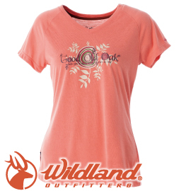 【Wildland 荒野 女款 V領印花棉質抗UV上衣《粉橘》】0A51605/短袖排汗衣/排汗衣★滿額送
