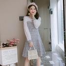 洋裝小香風 復古連衣裙秋季新款韓版修身顯瘦百搭甜美長袖拼接裙子 莎瓦迪卡