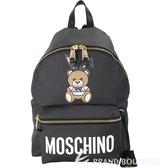 MOSCHINO Playboy 聯名款兔耳泰迪熊圖案後背包(黑色) 1820220-01