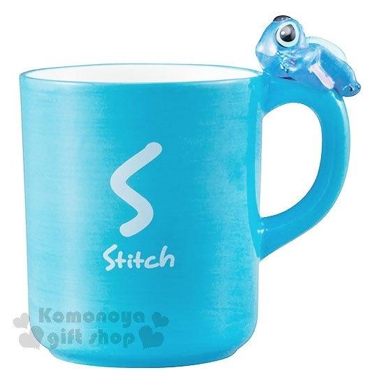 〔小禮堂〕迪士尼 史迪奇 造型陶瓷馬克杯《藍.杯邊玩偶》260ml.精緻盒裝 4942423-24618