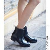 雨鞋 雨鞋女短筒時尚可愛手繪風女式低筒春夏水靴水鞋防滑膠鞋成人雨靴·夏茉生活
