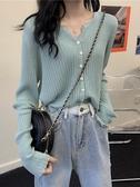 針織外套 春秋季2020新款韓版v領寬鬆短款毛衣外搭溫柔風開衫外套女針織衫 韓國時尚週