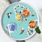餐盤圓形創意北歐式套裝兒童茶幾水果盤客廳餐具家用水杯托盤酒店  解憂雜貨鋪