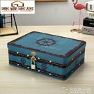 鐵盒子收納盒大號帶鎖證件整理盒長方形大容量桌面化妝品口紅儲物 安妮塔小铺