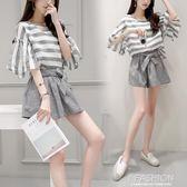 時尚休閒套裝2018春夏季新款女裝夏裝寬鬆條紋闊腿短褲兩件套潮-Ifashion