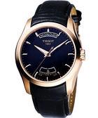 TISSOT 天梭 Couturier 建構師系列大三針機械錶-玫瑰金 T0354073605100