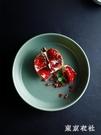 托盤 創意復古亞光綠陶瓷茶盤 10英寸陶瓷深湯盤子家用茶幾水果盤YQ271【東京衣社】