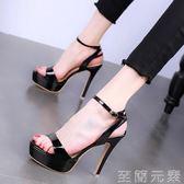 夜場高跟鞋細跟防水臺一字帶性感百搭露趾高跟涼鞋女   至簡元素