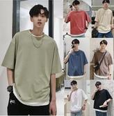 夏季潮牌假兩件短袖t恤男生韓版寬鬆潮流ins丅恤帥氣網紅半袖衣服