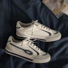 韓版ulzzang網紗板鞋女復古藍白拼色薄款網面透氣學生百搭小白鞋 快速出貨