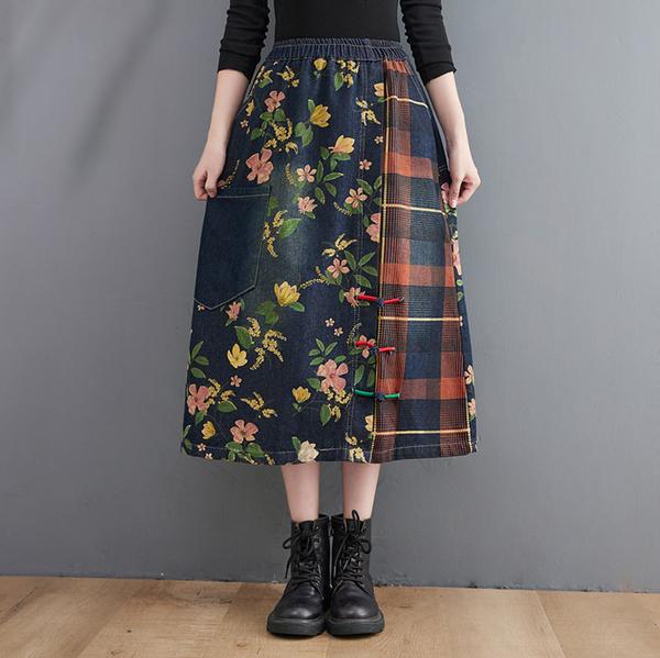 *ORead*印花拼接牛仔裙半身裙(藍色M~XL)