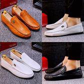 白色豆豆鞋男新品新款休閒皮鞋韓版百搭個性懶人潮鞋社會鞋男