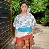 短袖T恤-條紋時尚拼色下擺寬鬆女上衣73qu21【巴黎精品】