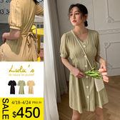 LULUS特價-YV領排釦綁帶洋裝-3色  【02190008】