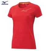 MIZUNO 女裝 短袖 上衣 T恤 慢跑 路跑 吸汗快乾 反光燙印 橘紅【運動世界】J2TA020356