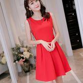洋裝 春夏新款韓版顯瘦純色女裝修身大碼無袖時尚百搭洋裝 唯伊時尚
