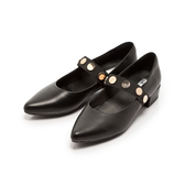 【Fair Lady】金屬釦繞帶尖頭低跟鞋 黑